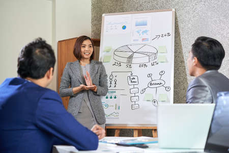 Asian young businesswoman standing near the whiteboard with graphs and making business presentation for her colleagues at office