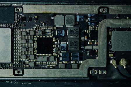 Details of digital tablet motherboard, view from above Archivio Fotografico