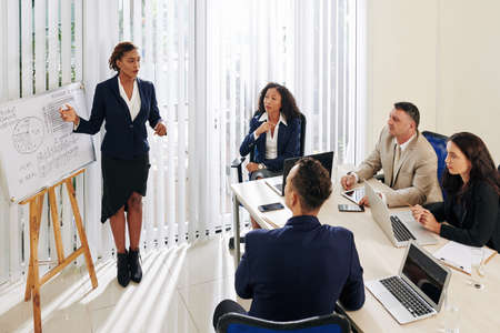 Pretty young businesswoman showing sales report and suggesting new way of company development Stock Photo