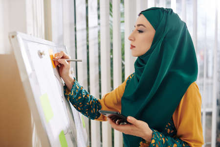 Female marketing manager in hijab holding smartphone in hand when drawing chart on whiteboard in office