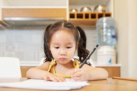 Adorable little Vietnamese girl sitting at kitchen table and drawing with pencil