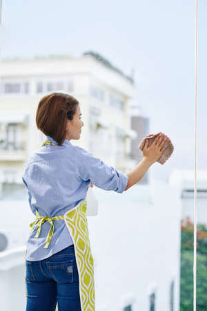 Positive young woman in apron cleaning big window in apartment, view from the back Imagens