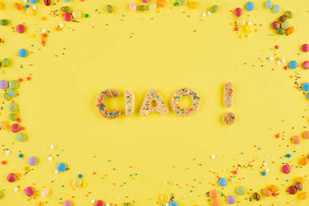 Ciao inscription made of cookies