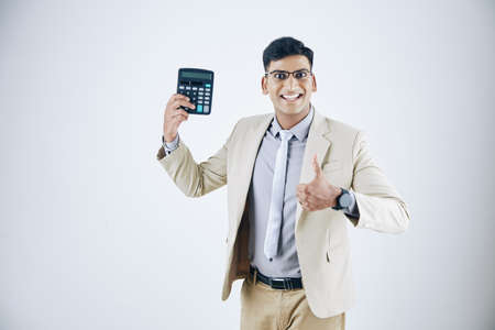 Excited entrepreneur with calculator