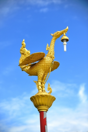 Golden swan lamp on electricity in thailand Stock Photo - 20693041