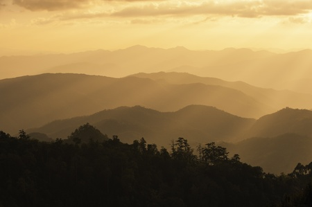 ridge: Sunrise Blue Ridge Mountains Scenic Overlook Nantahala Forest Highlands NC in southern Appalachians Spring