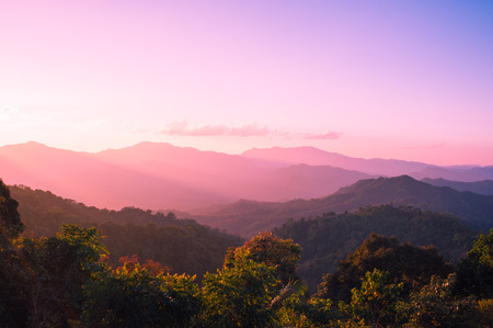 Sunrise Blue Ridge Mountains Scenic Overlook Nantahala Forest Highlands NC in southern Appalachians Spring Stock Photo - 22916337