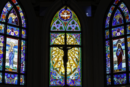 Stained Glass Design in the Church of thailand
