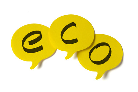 environmental conversation: Yellow stickers with shape of speech bubble, written eco text on itClipping path included