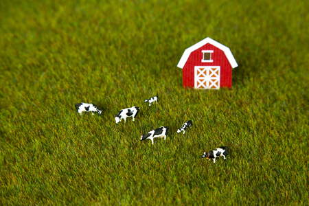 cows red barn: Toy farm with barn and cows