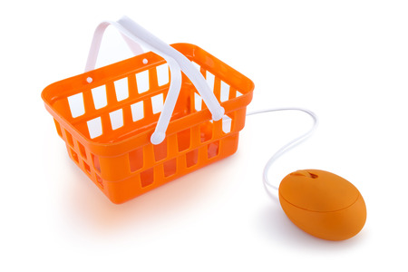 log basket: Computer mouse connected to shopping basket