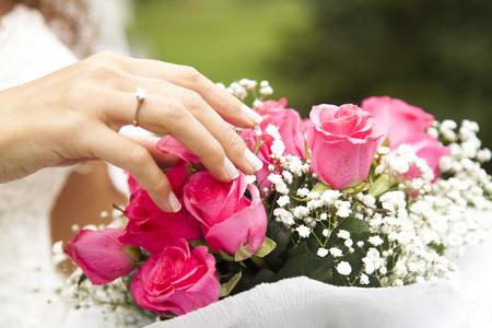 role models: Bride and bouquet
