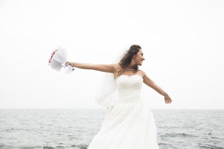 role models: Beautiful bride posing Stock Photo
