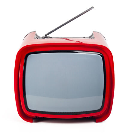 Red retro TV close up isolated on a white background