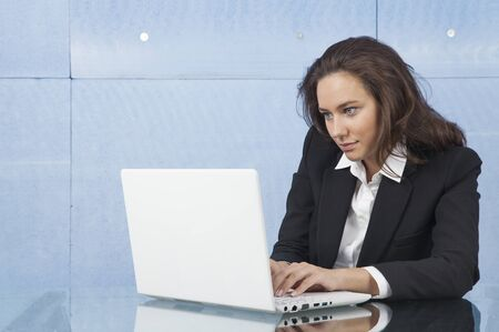 suite: Young business woman with notebook in the office