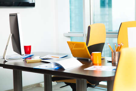 large group of business people: Shot of an office workspace Stock Photo