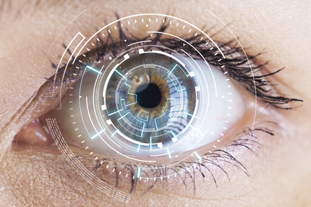 Eyes of technologies in the futuristic Imagens