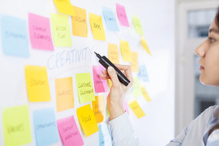 Business people post-it notes in whiteboard at meeting room Imagens