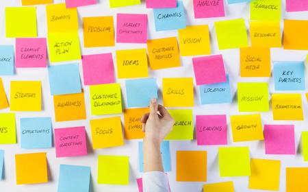Ręce kobiety przyklejają karteczki samoprzylepne na tablicy