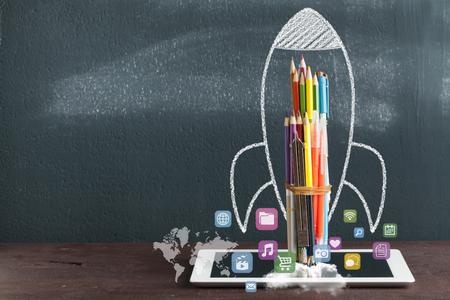Back To School - Rocket Sketch On Blackboard Фото со стока
