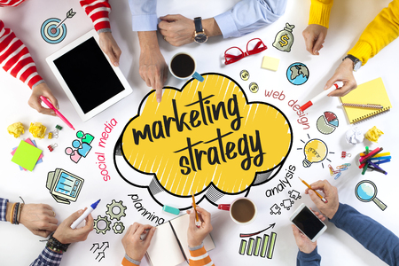 Group of Business People with Marketing Strategy Concept