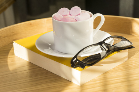 Hot chocolate and marshmallows on open book staying on wooden tray
