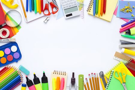 School stationery items on white background. Back to school concept. Stok Fotoğraf - 128814974