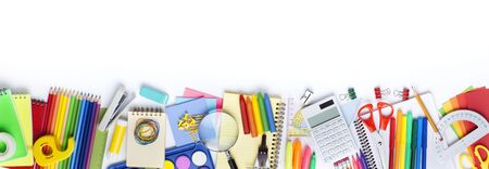 School stationery items on white background. Back to school concept. Stok Fotoğraf - 128814982