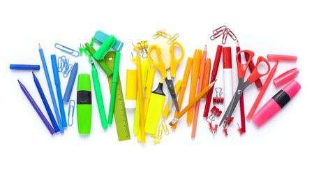 School stationery items on white background. Back to school concept.