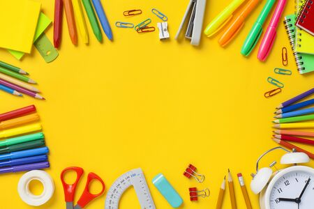 School stationery items on yellow background. Back to school concept. Stok Fotoğraf