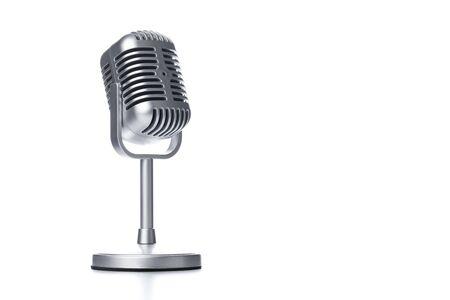 Retro microphone isolated on white background Stok Fotoğraf - 128816008