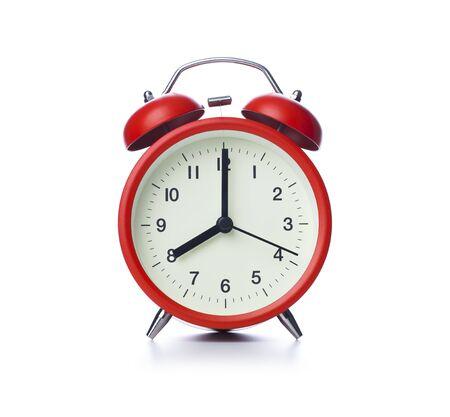Retro alarm clock on isolated white background Stok Fotoğraf - 128816011