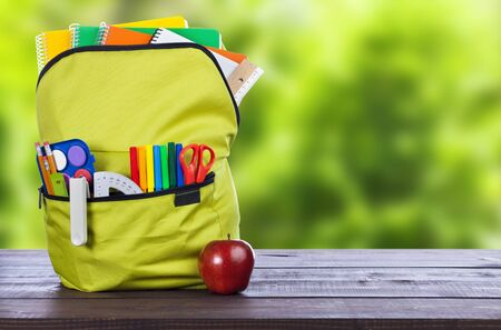Full school backpack with apple on wooden and green forest background Stok Fotoğraf