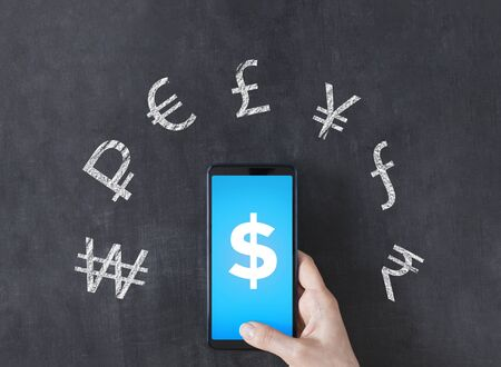 The smartphone app foreign currency exchange. Mobile banking concept  写真素材