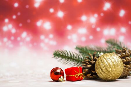 Christmas decoration objects on defocused red background Standard-Bild - 135007763