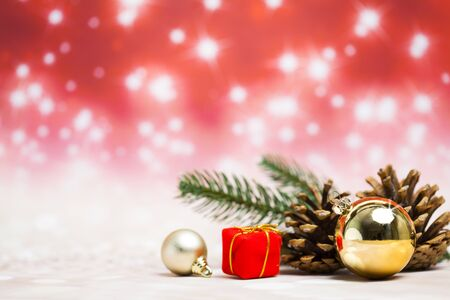 Christmas decoration objects on defocused red background Standard-Bild - 135007766
