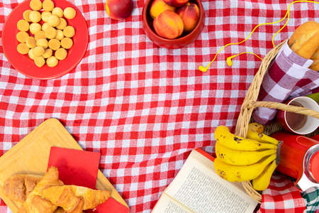 Delicious food in the picnic blanket and a writing space in center Foto de archivo