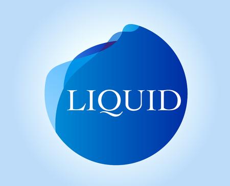 Liquid inscription on blue abstract design. Ilustrace