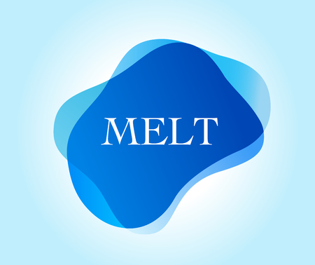 Melt inscription on blue abstract design.