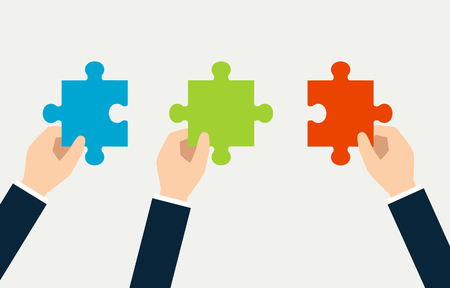 Image of puzzle in 3 hands Illustration