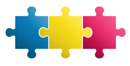 3 pieces Puzzle design Illustration