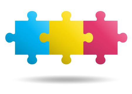 3 pezzi Puzzle design Vettoriali