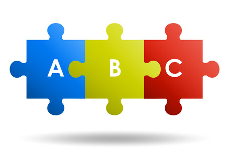 3 pieces Puzzle design Illusztráció