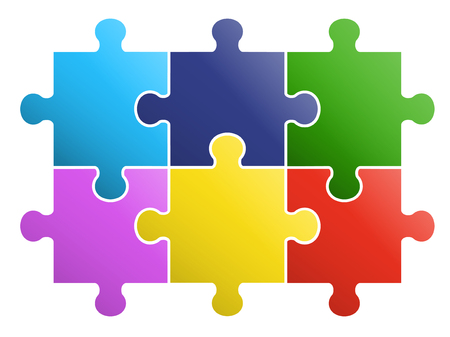 6 pieces Puzzle design 일러스트