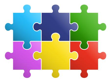 6 Teile Puzzle-Design Vektorgrafik