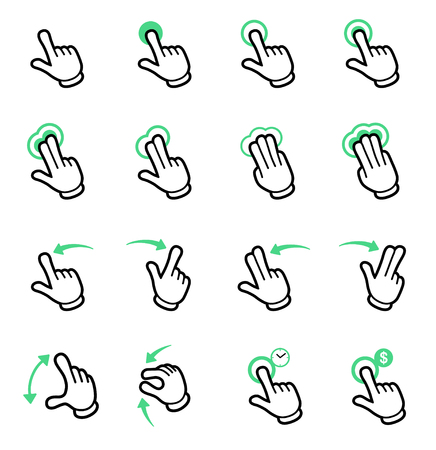 Panel touch icon set-cartoon style