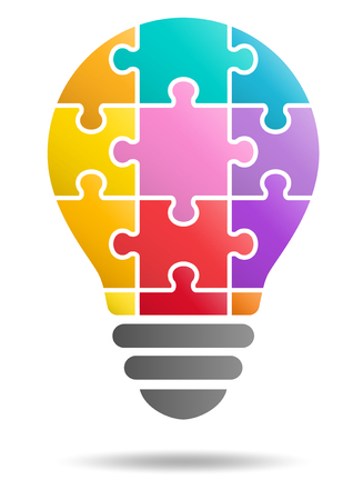 Puzzle-Glühbirne Vektorgrafik