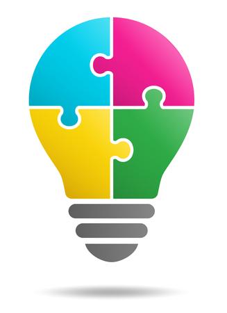 Puzzle Glühbirne und vier Hände