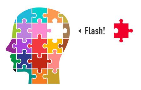 Puzzle und Gesicht (Flash-Bild)