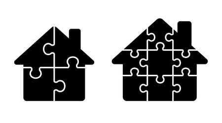 Puzzle House icon set Illustration
